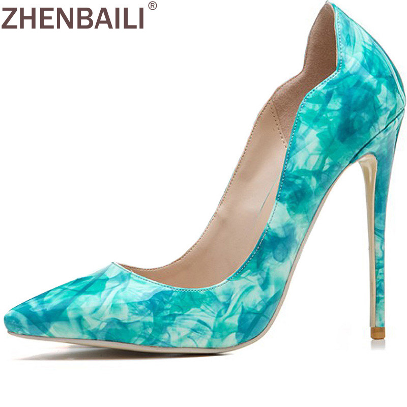 ZHENBAILI Shallow Slip-On Shoes 12 CM Heels Shoes for Women Fashion Tie Dye PU Pumps Pointed Toe Thin High Heel Party Shoes inc new gray white tie dye women s 16 tapered leg soft pull on pants $69 364