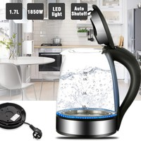 1 7L Auto Shutoff Cordless Electric Kettle With LED Light Fast Boiling Glass Tea Pot Stainless