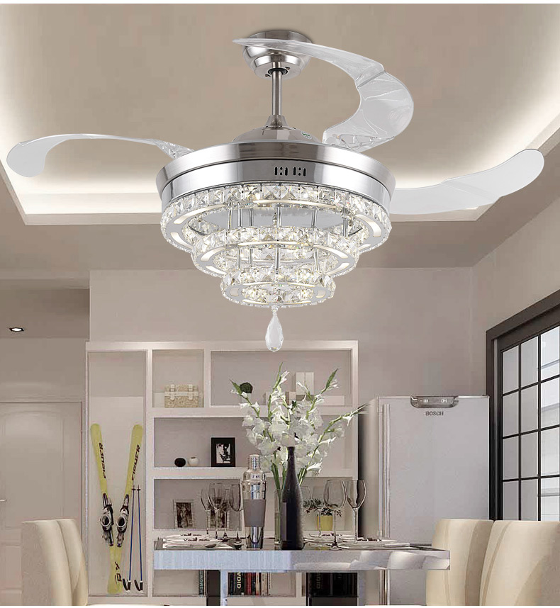 Led Invisible K9 Ceiling Crystal Fan Light Restaurant Fans Lamp Ceiling Living Room Minimal