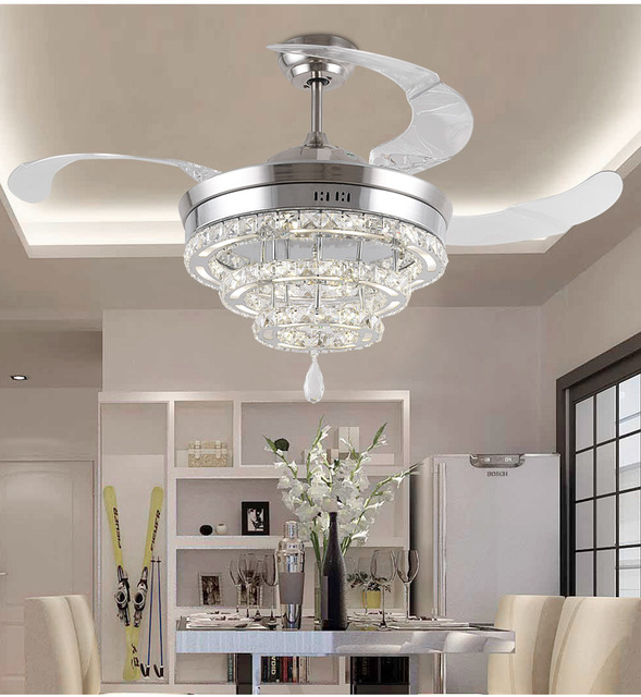 Ceiling Fan With Pendant Light: LED Invisible K9 Ceiling Crystal Fan Light Restaurant Fans