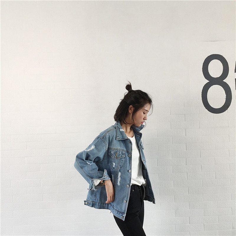 1f1d36fcba8 2018 Fashion Autumn Winter Women Denim Jacket Hollow Out Holes Loose Basic  Coats Casual Cotton Outerwear Vintage Jeans Jackets-in Basic Jackets from  Women s ...