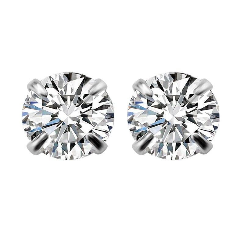 Circón pequeño y 925 Plata Esterlina Aretes Claro 4mm Blanco Diamante Corte