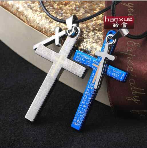 1pc Silver&blue Stainless Steel Crucifix 316l Necklace,Cool men cross pendants for jewelry,New Trendy style,Retail+Wholesale