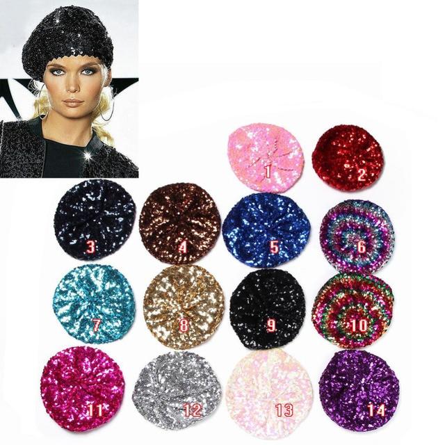d051d9cf56cc2 Women Lady Stretch Metallic Shining Sequin Beret Hat Party Beanie Cap Club  Dance IN Stock