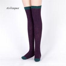 de685526b7cc0 Helisopus femmes hiver genou chaussettes cuisse haute bas dames automne  respirant doux bas mode chaud Piles longues chaussettes