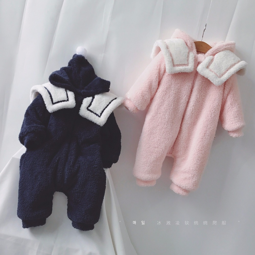 Navy Style Newborn Baby Jumpsuit Cute Toddler Romper Dark Blue And Pink Color Lovely Warm Clothes Boy And Girl Winter Rompers napapijri guji check dark blue