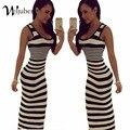 Женщины Полосатый Boho Макси Платья 2016 Летний Стиль Рукавов Sexy Ladies Beach Повседневная Длинные Dress Vestidos Плюс Размер