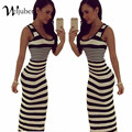 Women Striped Boho Maxi Dresses 2016 Summer Style Sleeveless Beach Sexy Ladies Casual Long Dress Vestidos Plus Size