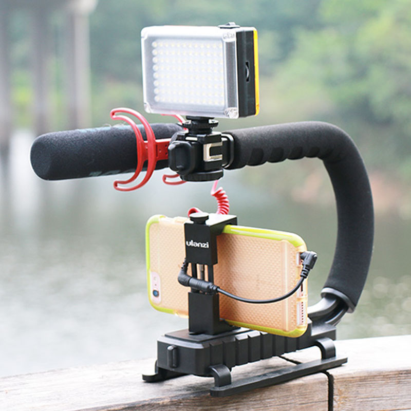 Expressive Roadfisher U C-shaped Grip Rack Video Holder Support Stabilizer Handle Bracket 3 Hot Shoes Mount For Dv Camcorder Dslr Camera High Safety Consumer Electronics