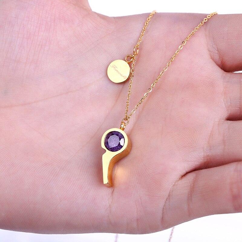 b0740424b388 Acier Inoxydable 316L Or Sifflet Pendentif Collier avec pierre Lien Chaîne  Collier Mode Bijoux Pour Les Femmes
