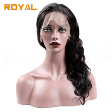 hot deal buy royal full lace body wave wig for women non remy brazilian human hair lace wavy wigs with baby hair natural color