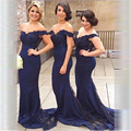 Fashion Floor Length Long Wedding Party Dresses 2017 V-Neck Off the Shoulder Lace Chiffon Mermaid Bridesmaid Dress Formal Gowns