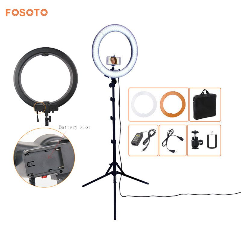 fosoto Camera Photo Studio Phone Video 18 55W 5500K 240 LED Photography Dimmable Ring Light Lamp with battery Slot&Tripod Stand fotopal led ring light for camera photo studio phone video 1255w 5500k photography dimmable ring lamp with plastic tripod stand