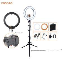 Fosoto Caméra Photo Studio Téléphone Vidéo 18 «55 W 5500 K 240 LED Photographie Dimmable Light Ring Lamp avec Logement de la batterie et Trépied