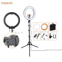 fosoto Camera Photo Studio Phone Video 18″ 55W 5500K 240 LED Photography Dimmable Ring Light Lamp with battery Slot&Tripod Stand