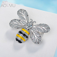 AOMU Insect Bee Brooches Pines Metal Enamel Pins Round Crystal Brooche Banquet Gift Hat Scarf Collar