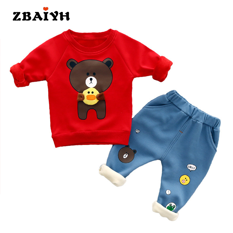 Baby girls Clothes Infant kids Sets winter warm Thick Pullover and pant suit Cartoon newyear Christmas outfit baby boys clothing