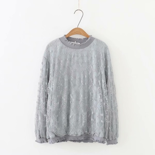 f04a56280e6be Plus size solid gray   white lace women T-shirts 2018 fashion spring autumn  tshirt