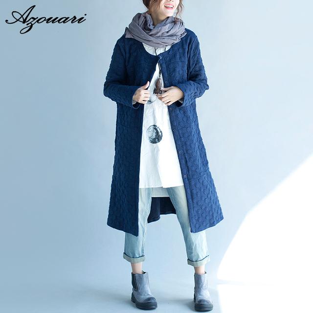 Azouari 2016 Otoño y ropa de invierno nuevas mujeres de gran tamaño retro seda carpeta larga floja de la rebeca de algodón rompevientos
