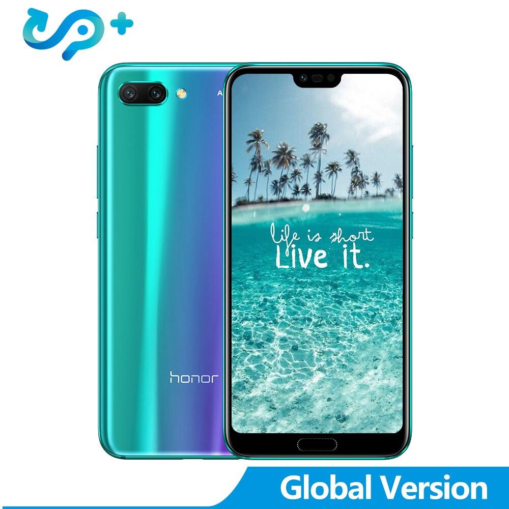 Global Versão Huawei Honra 10 5.84 polegada 2280x1080 p 4G LTE Smartphones face ID NFC android 8.1 3400 mAh 24MP Processador Da Câmera