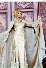 A-line High Kragen Langarm Mit Hijab Stickerei Bodenlangen Fashion Frauen Kleider 2016 Abendkleid für Moslemische