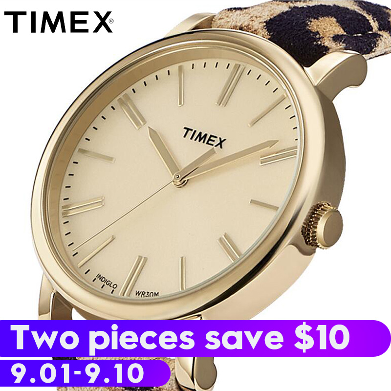 все цены на 2018 Real For Timex Genuine Women Watches Tw2p698 Leopard Leather Buckle Strap Quartz Analog Indiglo Luminous Female Watch онлайн