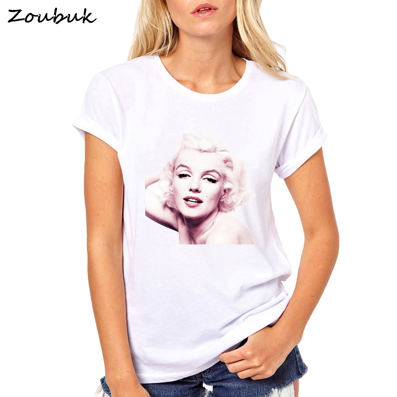 a39197319a3 Sexy Marilyn Monroe Printed Tshirt For Women Short Sleeve Casual Painted  White T-Shirt Plus