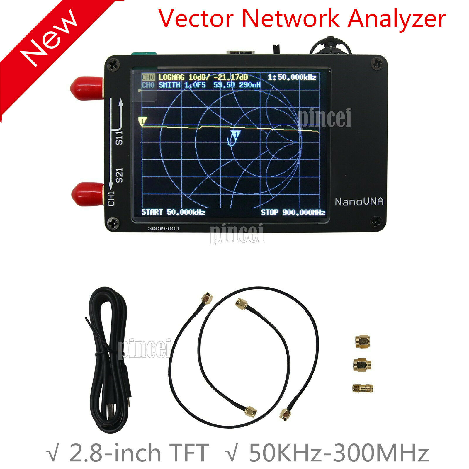 Metal Shield + battery NanoVNA VNA Vector network analyzer 50KHz-900MHz touch screen Shortwave MF HF VHF UHF Antenna Analyzer