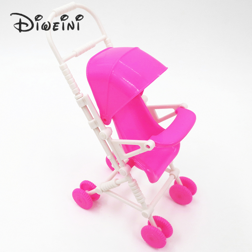Hot Selling Shade car Stroller For Doll Plastic Furniture Children Toys Lovely Plastic Dolls Cart for girls Doll Accessories