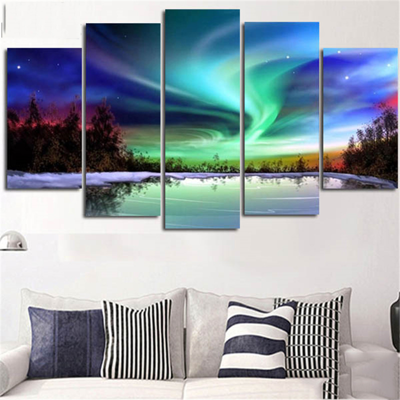Artryst 5 pieces canvas art Painting For Living Room Decor Modular High Quality Pictures Wall Pictures is The northern lights