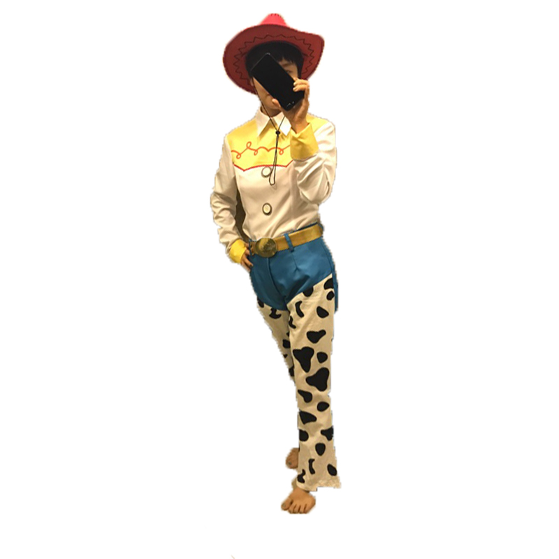 Free shipping Toy Story Jessie Cosplay costume set top+pant+hat for adults and children toy story and beyond jessie costume toy story3 child buzz costume cowgirl toy story jessie tunic tank dress toddler dresses