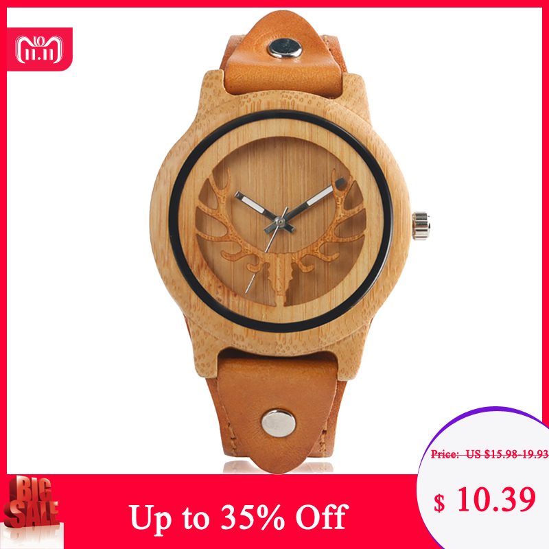 Steampunk Design Wood Watches Men's Moose Deer Elk Face Bamboo Wrist Watch Male Genuine Leather Quartz Watch Reloj de madera 2711 k6c9 touch panel for allen bradley 2711 k6 repair replacement panelview standard 600 touch screen fast shipping
