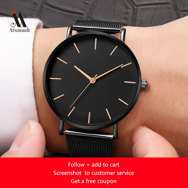 Black Business Watch Simple Men's Watches Sports Male Stainless Steel Clock Men Luxury Brand Wristwatch Man watch montre homme