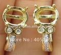 Free Shipping!! 6x8mm Oval NATURAL DIAMOND 14K YELLOW GOLD SEMI-MOUNT EARRINGS