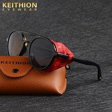 KEITHION Retro Round Metal Sunglasses Steampunk Men Women Brand Designer Glasses Oculos De Sol Shades UV Protection