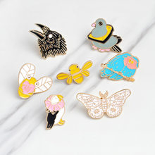 1pcs Bird Cartoon Icon Kawaii Cat Metal Pin On Badges Brooches Enamel Backpack Cloth Decoration Badges For Jeans CP1780(China)