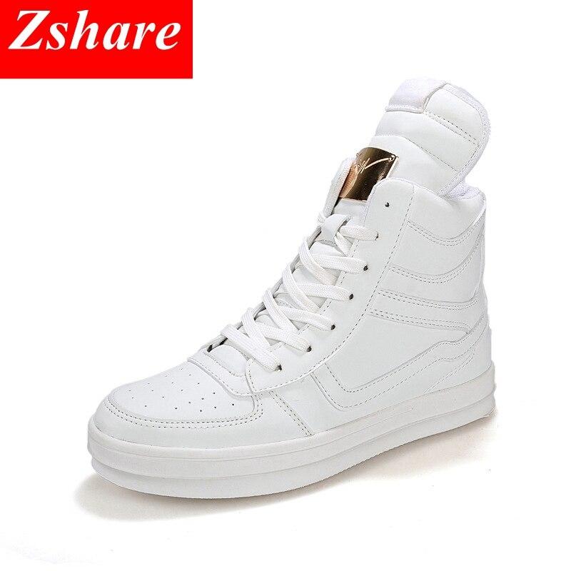 Hommes haut Top chaussures décontractées hommes baskets 2019 mode homme hip-hop chaussures blanc à lacets appartements hommes bottines grande taille 39-45
