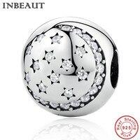 INBEAUT Nuevo Diseño de Moda de Plata Maciza Cielo Nocturno de la Estrella Zirconia Beads fit Pandora Pulsera Del Encanto Del Corchete de 925 Cadena de Plata de ley