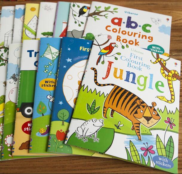 10 Books/set Usborne Educational Children English Study Scene Picture Cartoon Animals Sticker Colouring Book Connection