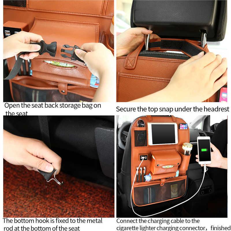 Organizador de asiento de coche, bolsa de almacenamiento de asiento trasero, bolsa de almacenamiento para coches, mesa de bandeja plegable Interior para niños, Cargador USB de viaje teléfono