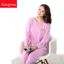 New hot Autumn Winter Women Pajamas Sets O-Neck Long Sleeve Women Sleepwear pajamas suit tracksuit for women free shipping