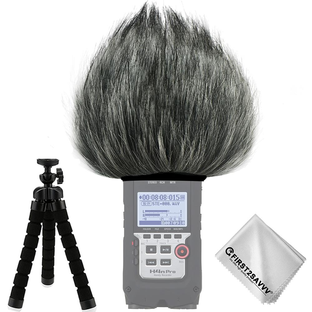 Outdoor Portable Digital Recorders Furry Microphone Mic Windscreen Wind Muff for Zoom H4n Pro + mini tripod