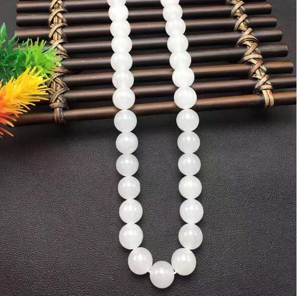 Natural HeTian Yu white jade necklace transshipment buddha bead Necklace + Certificate Fashion Jewelry