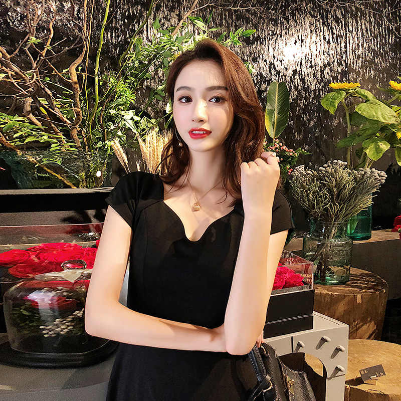 2019 Zomer Slanke Koreaanse Jurk Vrouwen Grote Schommel Corset Plisse Midi Vrouwen Jurk Korte Mouwen Ongedwongen Elegante Zwarte Jurken Dames