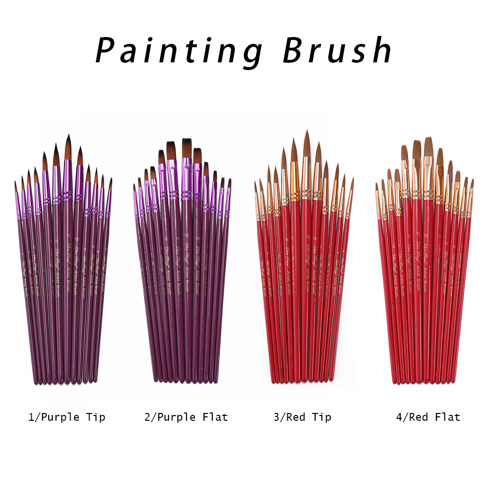 Office & School Supplies Initiative 12pcs/set Flat Tip Artist Paint Brush Nylon Hair With Wooden Handle Watercolor Oil Painting Pen Artist Tool Diy Accessories Agreeable To Taste Paint Brushes