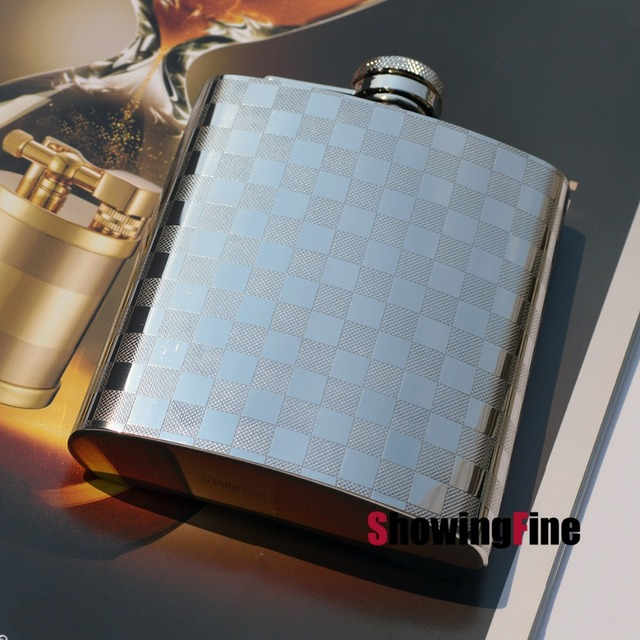 8OZ  8-18 Stainless Steel fancy whisky drink alcohol liquor flask hip practical flagon with flannel bag package