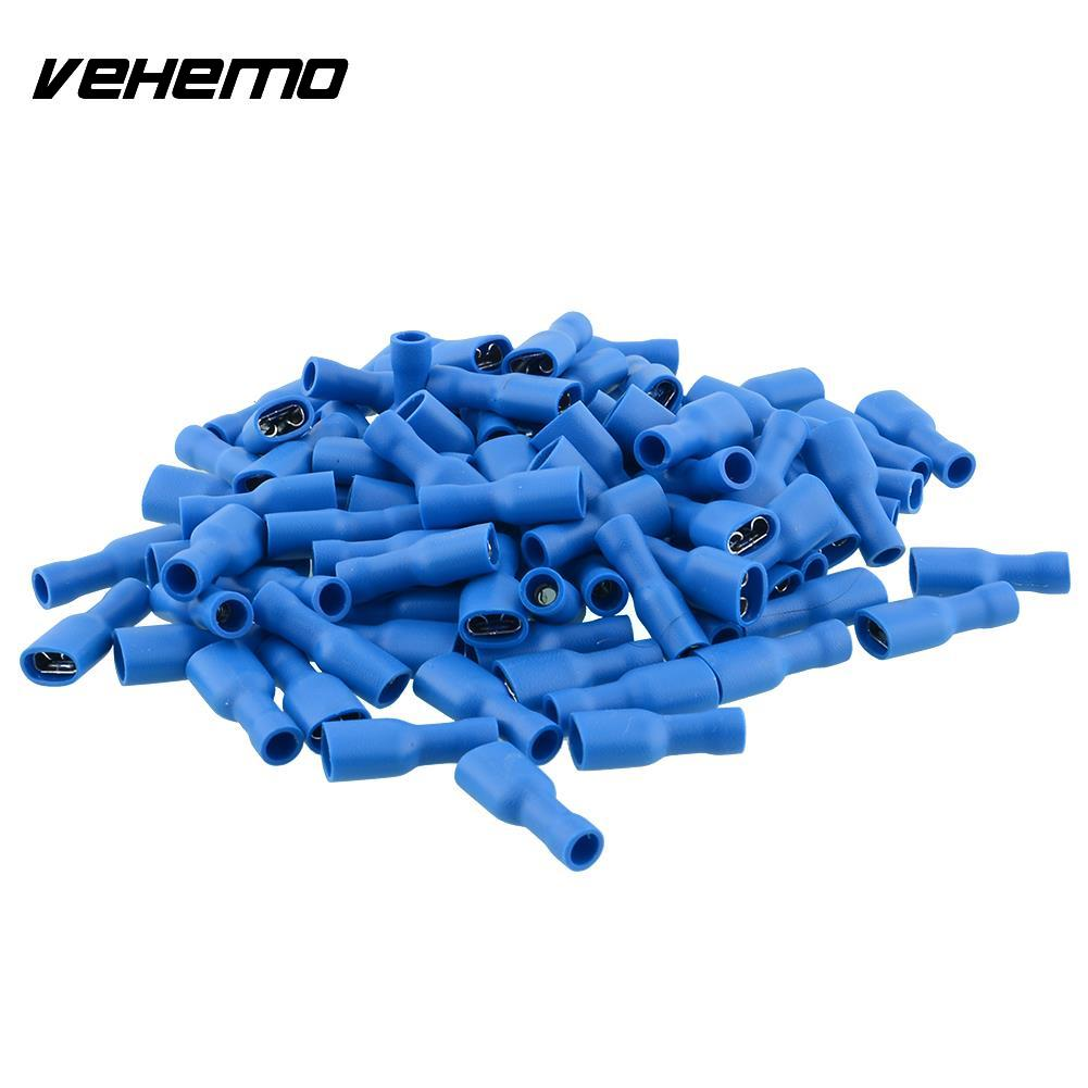 100x Blue Fully Electrical Crimp Wire Cable Connectors Terminal Female 6.3mm