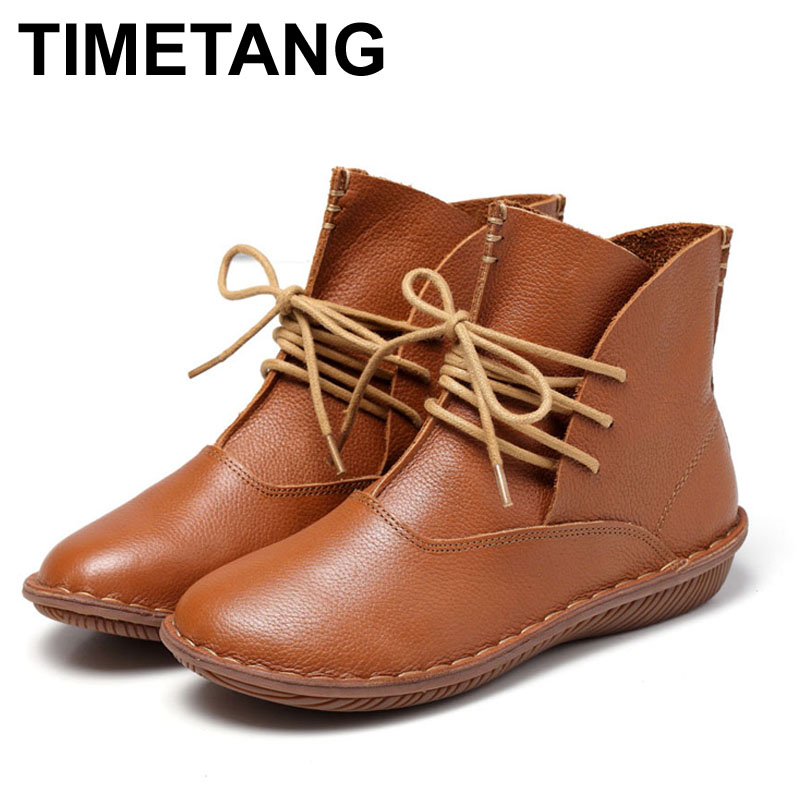 ФОТО Whensinger 2016 Full Grain Leather Fashion Boots Women Shoes Botas Feminina Botines Mujer Scarpe Donna Lace Up Handsewn 506