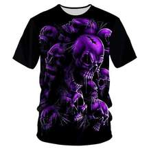 YFFUSHI 2019 New Fashion Unique 3d Skull Print t-shirt Men 3D T-shirt Purple Hip Hop Tees Streetwear