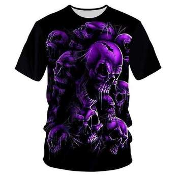 YFFUSHI New Fashion Unique 3d Skull Print t-shirt Men 3D T-shirt Purple Hip Hop Tees Streetwear